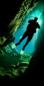 Scuba diver in the Heber River