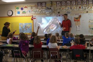 Salmon and Watershed Awareness presentation to a group of Grade one School Children.