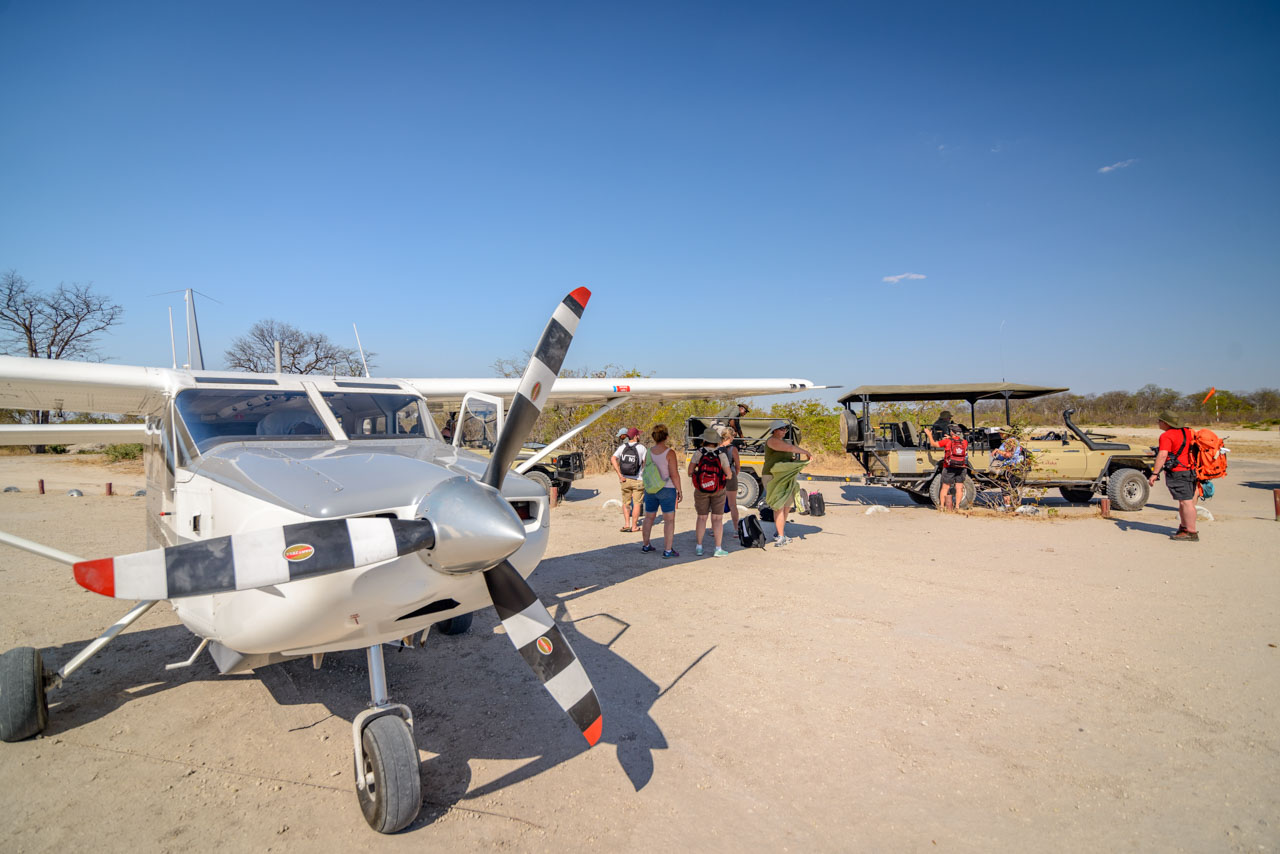 landing strip in okavango delta at moremi