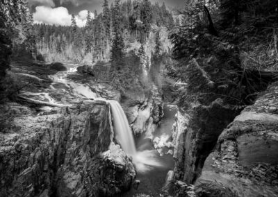 Monochrome image of Elk Falls on the Campbell River, BC