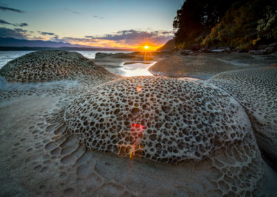 Amazing rock formations on Hornby Island during sunset