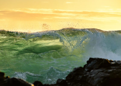 Backlit wave in Hawaii