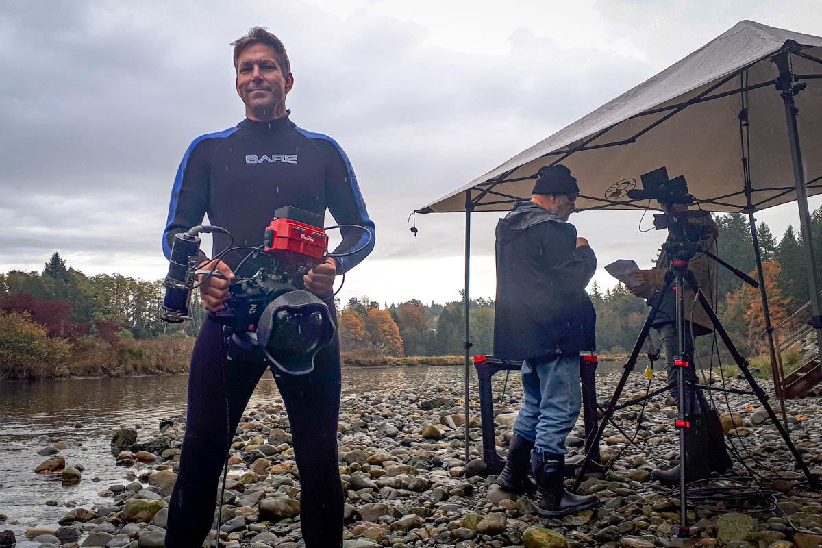 Eiko Jones on set of film production about salmon