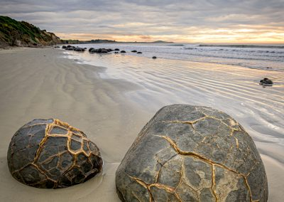 Unique Moeraki Boulders on the East Coast of New Zealands South Island.