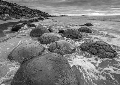 Unique Moeraki Boulders on the East Coast of New Zealands South Island.