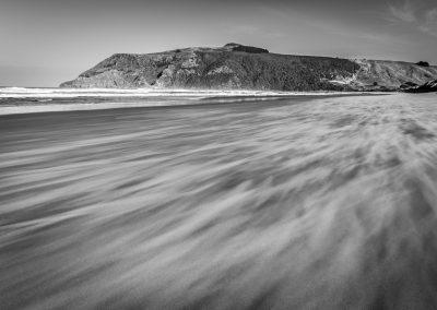 Windswept sandy beach on Otago Peninsula