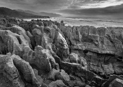 Unique limestone formations called Pancake Rocks at Punakaiki
